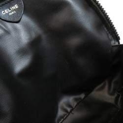 Celine Black Leather Logo Shoulder Bag