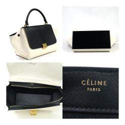 Celine White/Black Canvas Leather Trapeze Bag