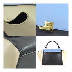 Celine Black/Blue Leather Trapeze Shoulder Bag