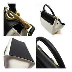 Celine Black/White Leather Canavs Trapeze Shoulder Bag