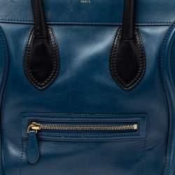 Celine Blue/Black Leather Mini Luggage Tote