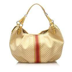 Celine Brown/Beige Macadam Jacquard Hobo Bag