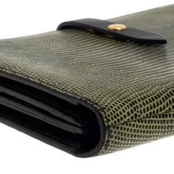 Celine Green/Black Lizard Large Multifunction Strap Wallet