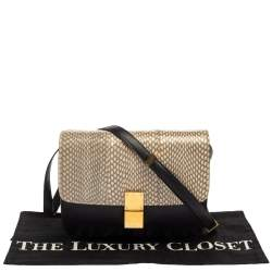 Celine Black/Beige Snakeskin and Leather Medium Classic Box Shoulder Bag
