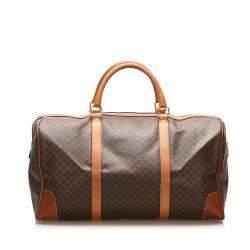 Celine Brown Macadam Coated Canvas Travel Bag