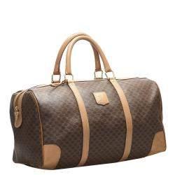 Celine Brown/Beige Macadam Coated Canvas Travel Bag