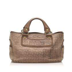Celine Brown/Beige Suede Leather C Macadam Boogie Tote