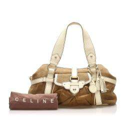 Celine Brown/Beige Canvas Tote Bag