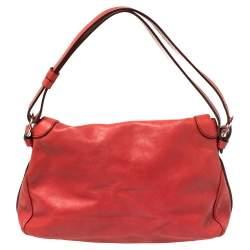 Celine Red Leather Tassel Falp Hobo