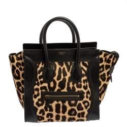 Celine Black Animal Print Calf Hair and Leather Mini Luggage Tote