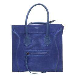 Celine Blue Phantom Suede and Leather Tote