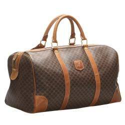 Celine Brown/Beige Macadam Coated Canvas Macadam Travel Bag
