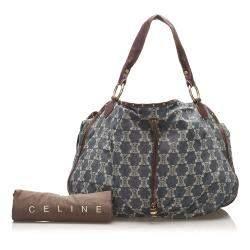 Celine Blue/Brown Triomphe Denim Shoulder Bag