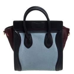 Celine Tri Color Calf Hair and Leather Nano Luggage Tote