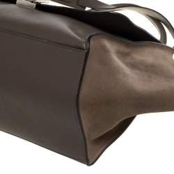 Celine Khaki Beige Leather and Suede Medium Trapeze Top Handle Bag