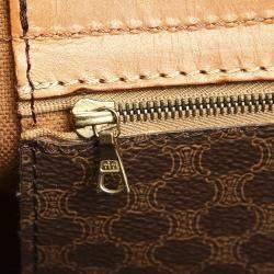 Celine Brown/Beige Coated Canvas Macadam Travel Bag