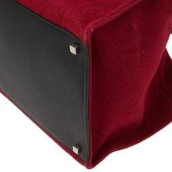 Celine Red/Black Wool and Leather Medium Phantom Luggage Tote