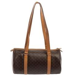 Céline Brown Coated Macadam Canvas And Tan Leather Boston Bag
