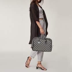 Celine Grey/Black Macadam Canvas and Leather Satchel