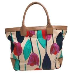 Tory Burch Multicolor Tulip Print Canvas and Leather Sophia Tote