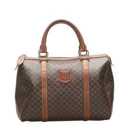 Celine Brown/Beige Coated Canvas Macadam Boston Bag