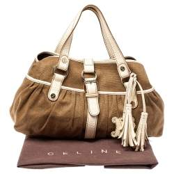 Celine Brown/Beige Canvas and Leather Boogie Tote