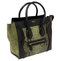 Celine Tri Color Python, Leather and Suede Micro Luggage Tote