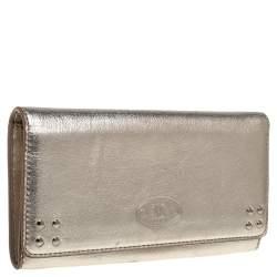 Celine Metallic Gold Leather Flap Continental Wallet
