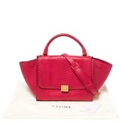Celine Magenta Python Mini Trapeze Top Handle Bag