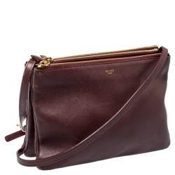 Celine Burgundy Leather Large Trio Crossbody Bag