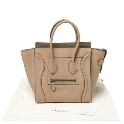 Celine Beige Leather Micro Luggage Tote