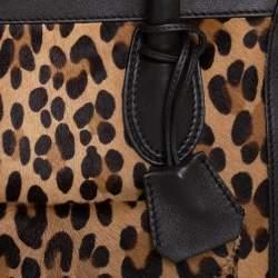 Celine Dark Brown Leopard Print Calf Hair and Leather Envelope Luggage Tote