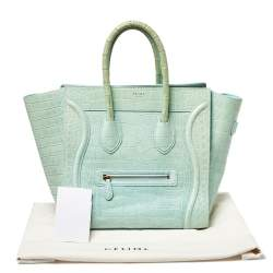 Céline Aqua Green Crocodile Mini Luggage Tote