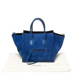 Celine Blue Suede Medium Phantom Luggage Tote