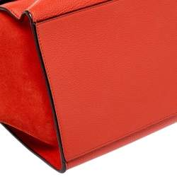Celine Orange Leather and Suede Medium Trapeze Bag