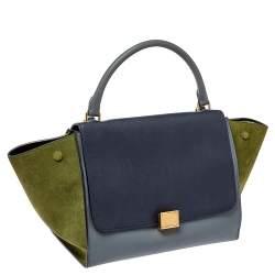 Celine Tricolor Leather and Suede Medium Trapeze Top Handle Bag