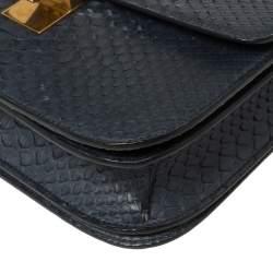 Celine Navy Blue Python Medium Classic Box Shoulder Bag
