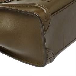 Celine Olive Green Leather Nano Luggage Tote