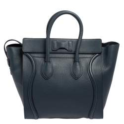 Celine Blue Bullhide Leather Mini Luggage Tote