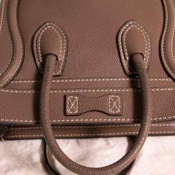 Celine Brown Leather Nano Luggage Tote Bag
