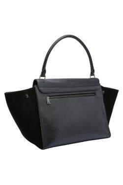 Celine Black Calfskin Leather Trapeze Large Bag