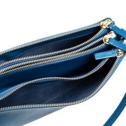 Céline Blue Leather Large Trio Crossbody Bag