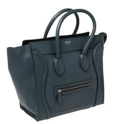 Céline Blue Leather Mini Luggage Tote