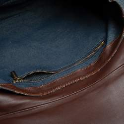 Celine Blue Denim and Leather Macadam Satchel