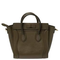 Céline Olive Green Leather Nano Luggage Tote