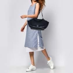 Celine Navy Blue Leather Medium Trapeze Top Handle Bag