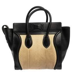 Céline Black/Cream Python and Leather Mini Luggage Tote