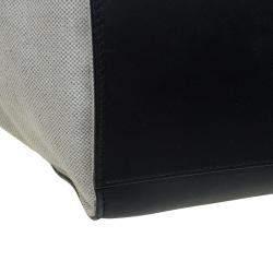 Celine Black/Beige Leather and Canvas Medium Trapeze Bag