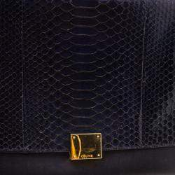 Celine Black/Brown Python/Leather and Suede Medium Trapeze Bag