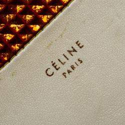 Celine Off White Leather Holographic Zip Up Wallet